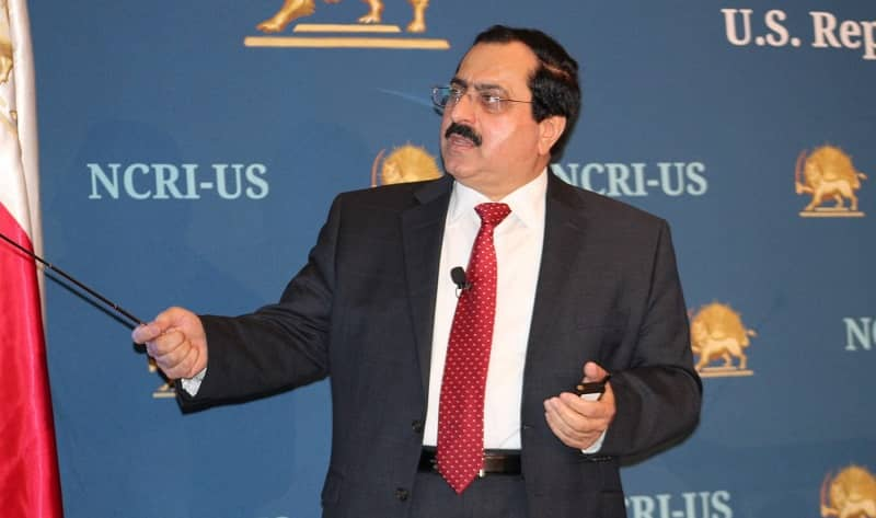 At a press conference, NCRI-US Deputy Director, Alireza Jafarzadeh, using a power point presentation, shows maps, graphs, and charts of the covert organization as well as names of individuals involved in the Iranian regime's weaponization program - April 21, 2017