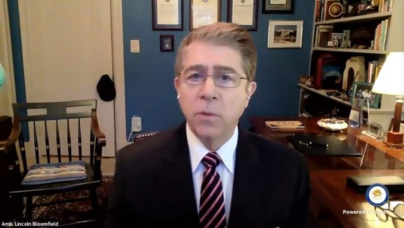 Amb. Lincoln Bloomfield speaks to the online panel - February 4, 2021