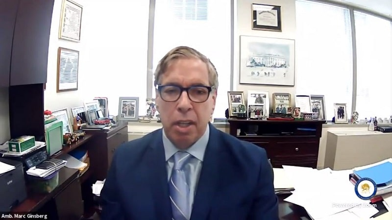 Amb. Marc Ginsberg speaks to the online panel - February 4, 2021