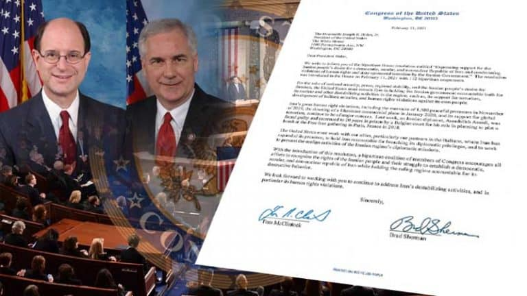 Congressmen's Letter To President Biden, Announcing H. Res. 118 Which Calls for a Free Iran