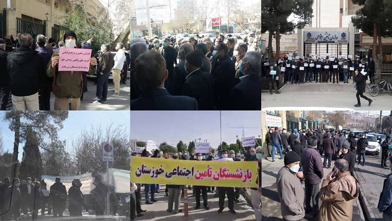 Hundreds of retirees and pensioners living on social security held rallies on 21 cities across Iran for the third consecutive week - February 21, 2021