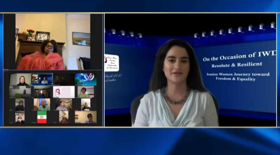 Farzaneh Hosseini, speaks at the online conference marking the International Women's Day