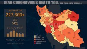 PMOI-MEK reports over 227,300 coronavirus (COVID-19) deaths in Iran