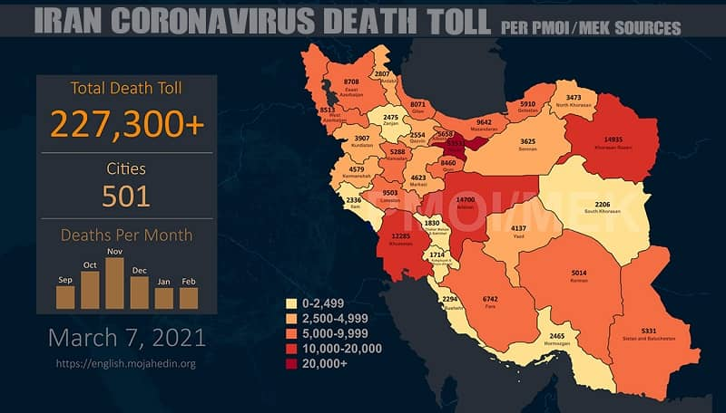 PMOI-MEK reports over 227,300 coronavirus (COVID-19) deaths in Iran