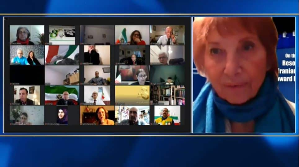 Lady Val Corbett, speaks at the online conference marking the International Women's Day