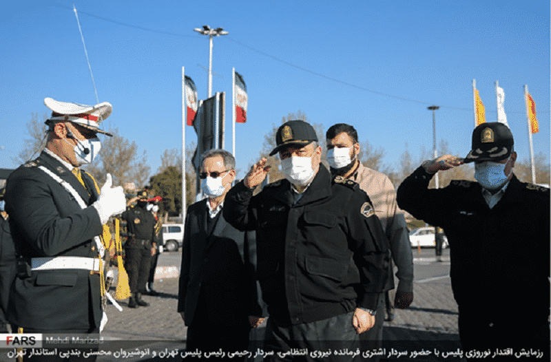 The Chief of Police, Tehran Police Chief, and Tehran Governor Anoushirvan Mohseni Bandapi in Azadi Square