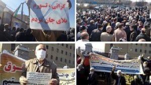Protes pensiunan di 28 kota terjadi di seluruh Iran terhadap penjarahan dan korupsi yang dilembagakan oleh rezim - Minggu 7 Maret 2021.