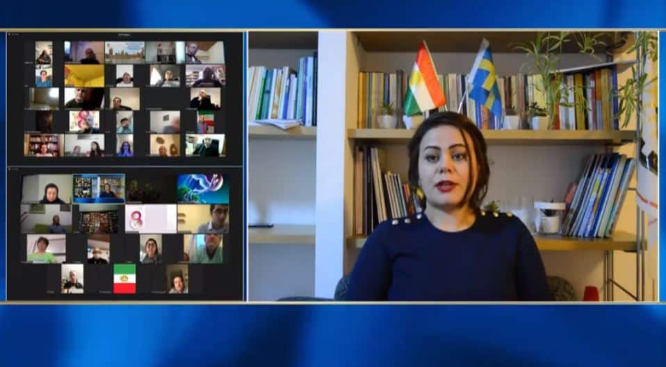 Sara Khoshkalam, speaks at the online conference marking the International Women's Day