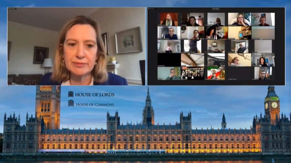 Amber Rudd, speaks at the online conference marking the International Women's Day
