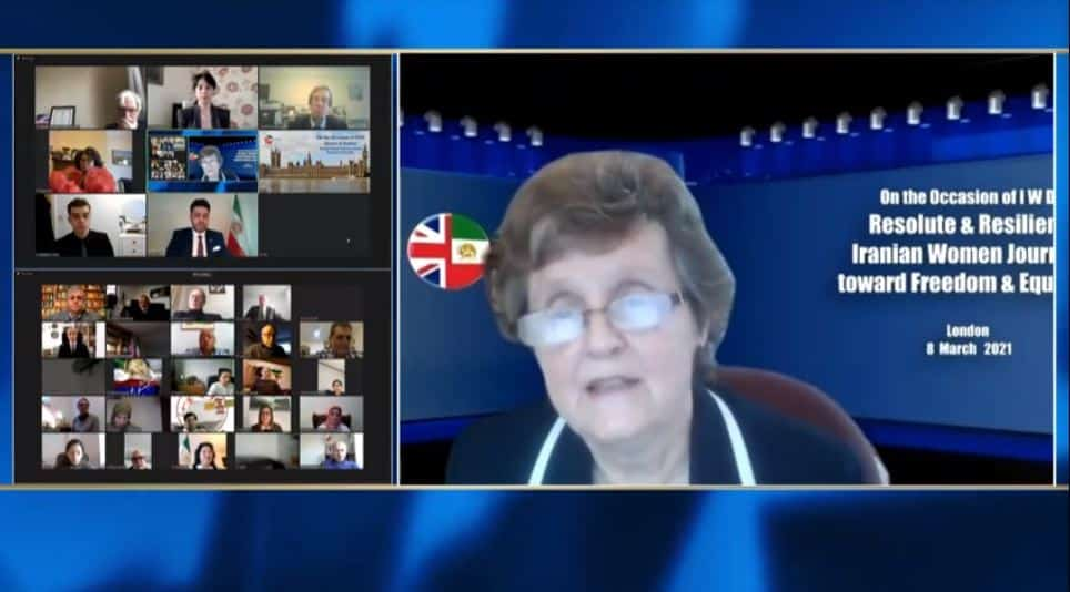 Anthea Mcintyre, speaks at the online conference marking the International Women's Day