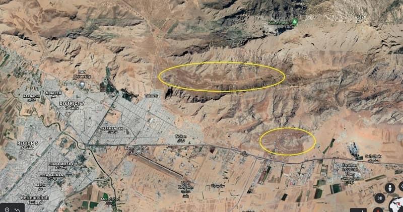 Satellite imagery on the general location of Konesht and Panj Pelleh Sites