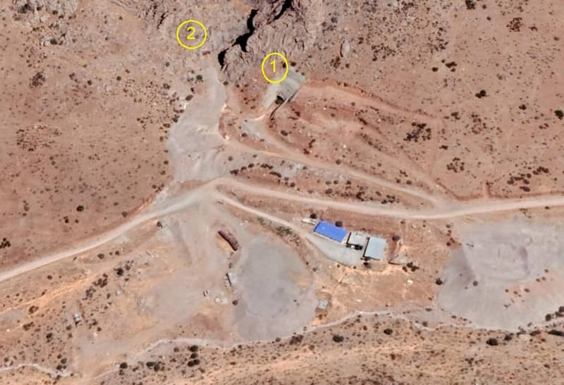 Satellite images reveal two tunnels in the Eastern area of the site