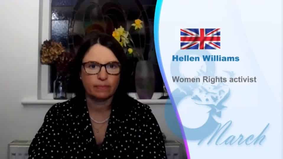 Hellen Williams, speaks at the online conference marking the International Women's Day