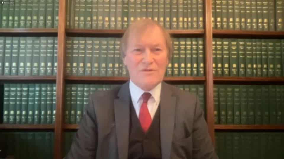 Sir David Amess, speaks at the online conference marking the International Women's Day