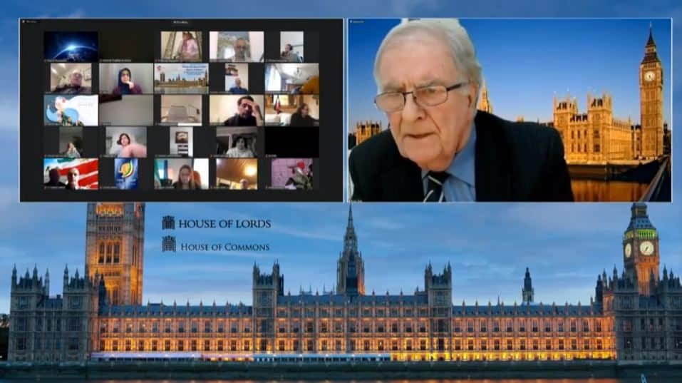 Sir Roger Gale, speaks at the online conference marking the International Women's Day