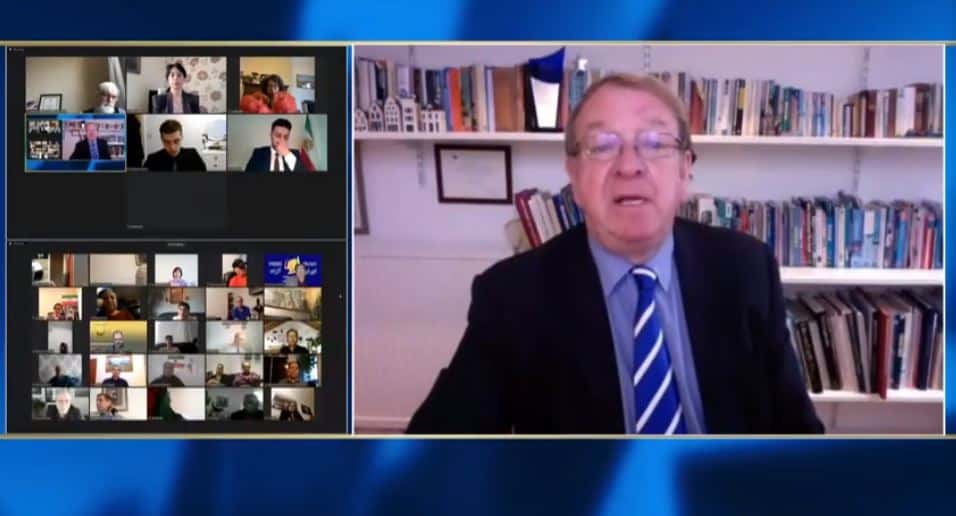 Struan Stevenson, speaks at the online conference marking the International Women's Day