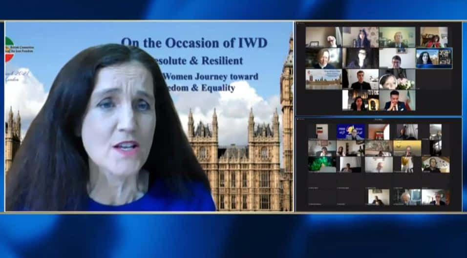 Theresa Villiers, speaks at the online conference marking the International Women's Day