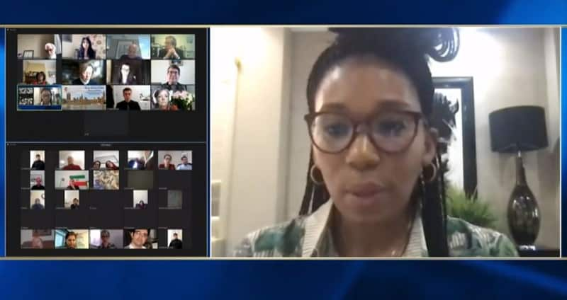 Zamaswazi Dlamini-Mandela, speaks at the online conference marking the International Women's Day