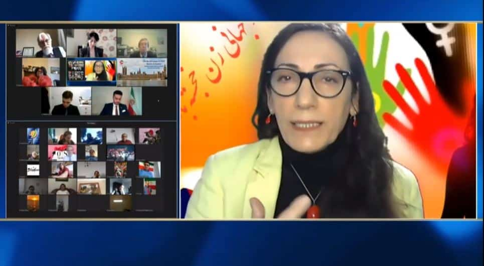 Zinat Mirhashemi, speaks at the online conference marking the International Women's Day