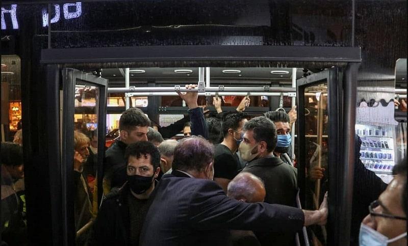 Full packed metro in Tabriz, Iran during Coronavirus pandemic