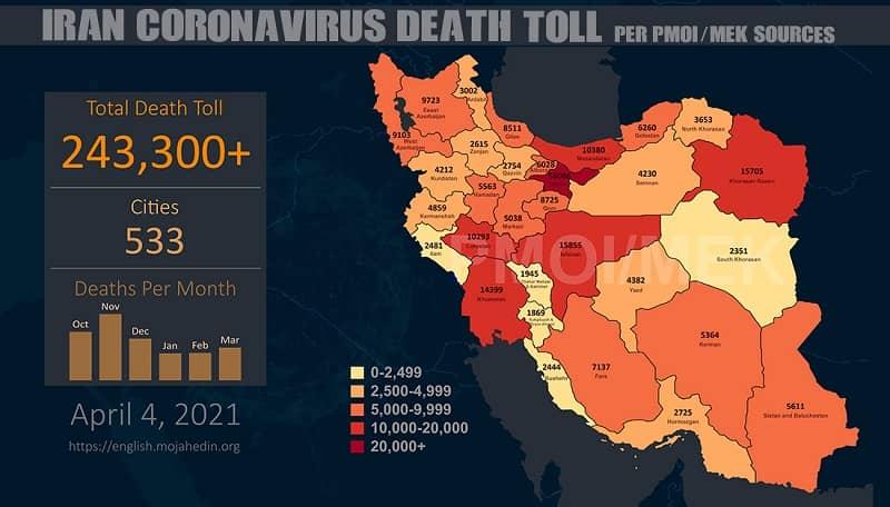 Infografis yang menunjukkan jumlah kematian Covid-19 di Iran