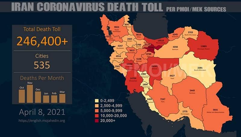 Infografis-PMOI-MEK melaporkan lebih dari 246.4000 kematian akibat virus corona (COVID-19) di Iran
