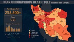 Infografis-PMOI-MEK melaporkan lebih dari 255.300 kematian akibat virus korona (COVID-19) di Iran