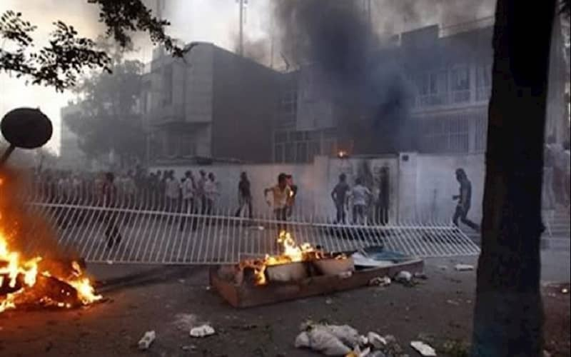 Iranians riot in the streets during 2019 uprisings