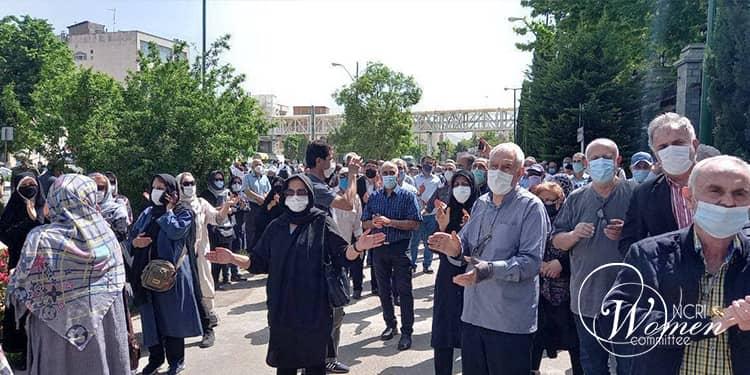 Retirees protest in Tehran, Iran