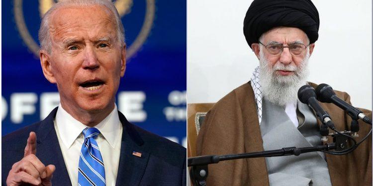 Joe Biden and Ali Khamenei split photo