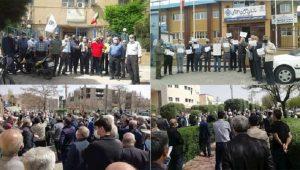 Para pensiunan di beberapa kota di Iran menggelar unjuk rasa di depan kantor Organisasi Jaminan Sosial