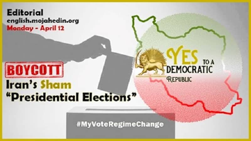Poster from PMOI website on boycotting Iran's election 2021