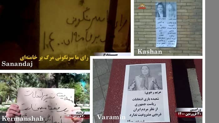 Varamin, Kashan, Sanandaj and Kermanshah – Activities of the Resistance Units and supporters of the MEK, calling for the boycott of the regime's sham election – April 19, 2021