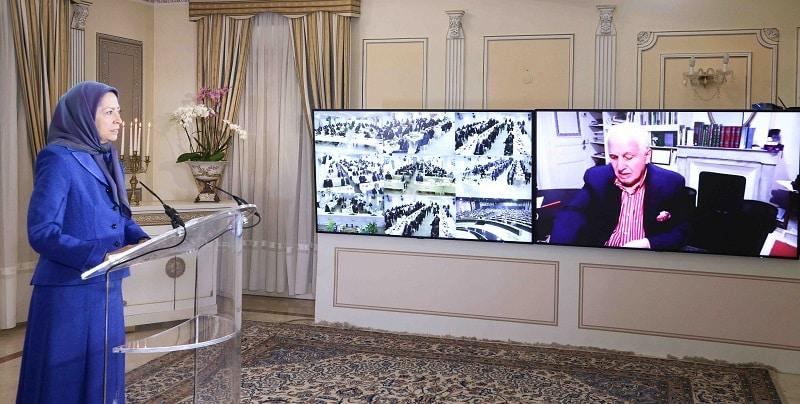 Maryam Rajavi speaking at the Ramadan Online Conference