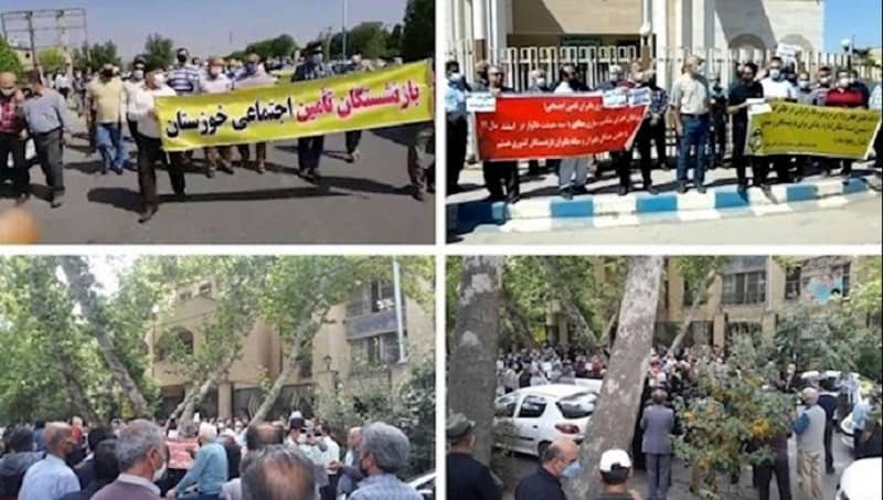 Protest rallies by pensioners in different Iranian cities — April 18, 2020