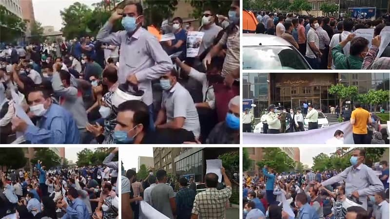 Tehran – Protest rally by AZOVICO defrauded investors in front of the regime's Ministry of Industry, Mine and Trade – April 24, 2021