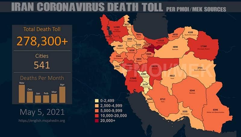 PMOI-MEK melaporkan lebih dari 278.300 kematian akibat virus korona (COVID-19) di Iran