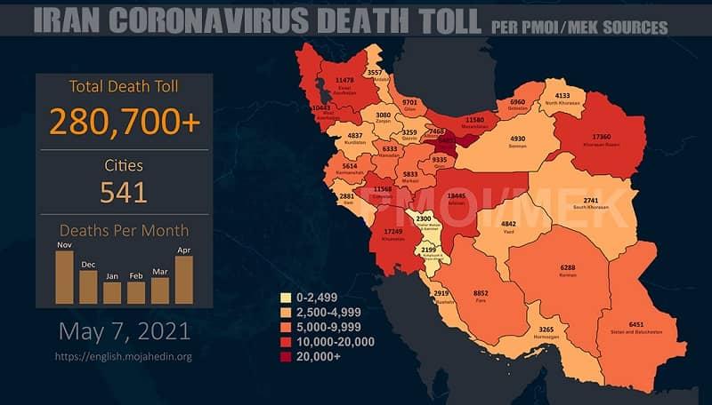 PMOI-MEK melaporkan lebih dari 280.700 kematian akibat virus korona (COVID-19) di Iran
