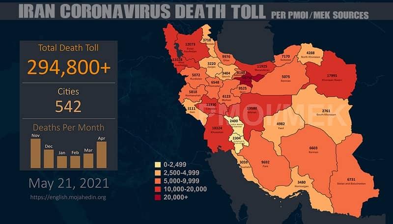 Infografis-PMOI-MEK melaporkan lebih dari 294.800 kematian akibat virus corona (COVID-19) di Iran (1)