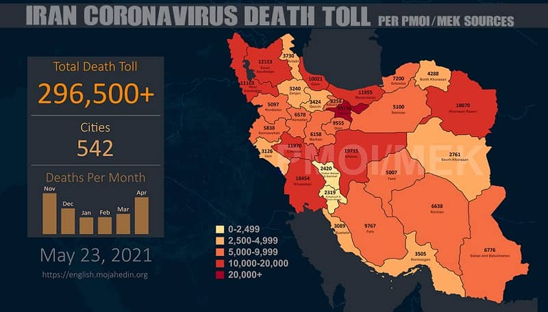Infografis-PMOI-MEK melaporkan-lebih-296,500-coronavirus- (COVID-19) -mati-Iran