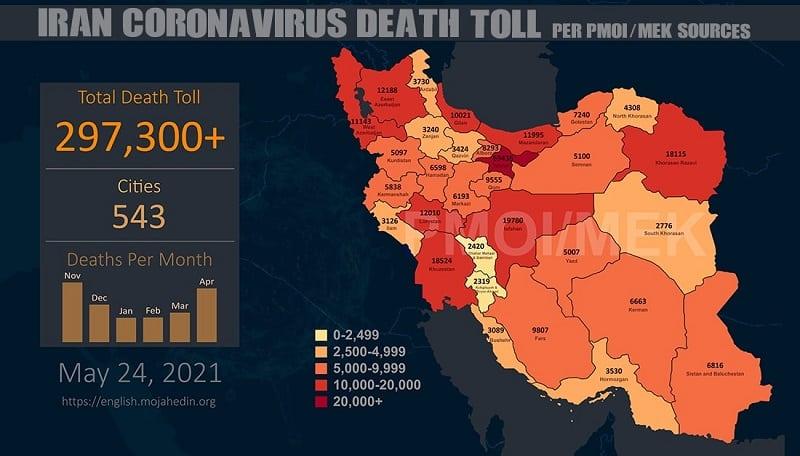 Infografis-PMOI-MEK melaporkan lebih dari 297.300 kematian akibat virus corona (COVID-19) di Iran-min