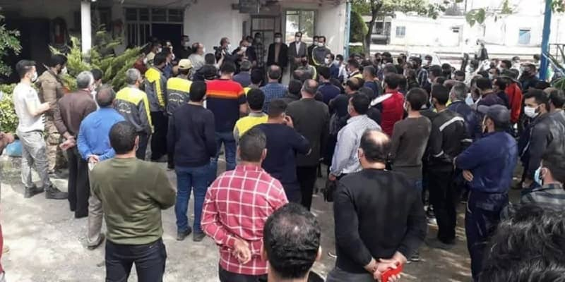 Apr 24- Northern Mazandaran Railroad workers gathered outside the General Directorate of Railways to protest their employment status