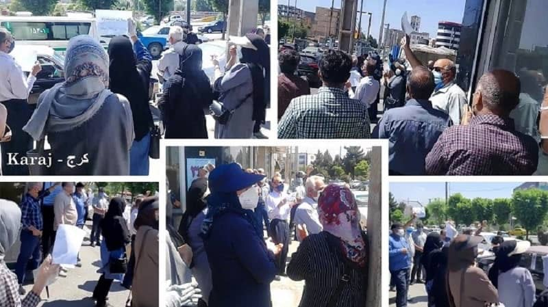Karaj – Protest rally in front of the Social Security Organization – May 9, 2021