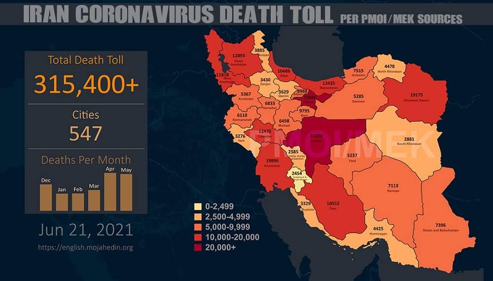 Infographic-PMOI-MEK reports over 315,400 coronavirus (COVID-19) deaths in Iran