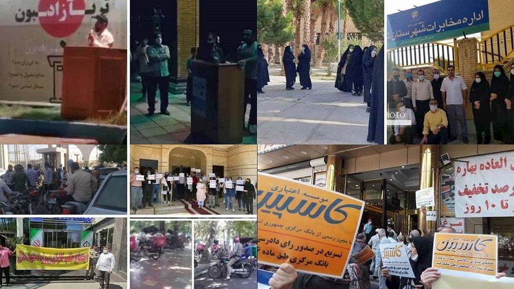 Laporan dari Iran menunjukkan protes oleh orang-orang dari semua lapisan masyarakat berlanjut di seluruh Iran, beberapa hari sebelum pemilihan presiden palsu rezim tersebut.
