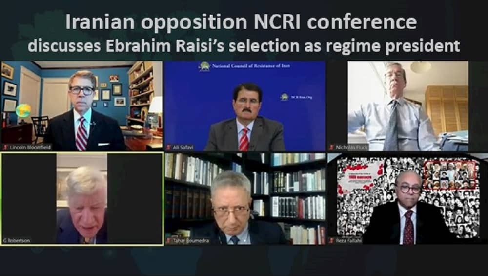 Online conference discusses Ebrahim Raisi's selection as the Iranian regime's president (1)