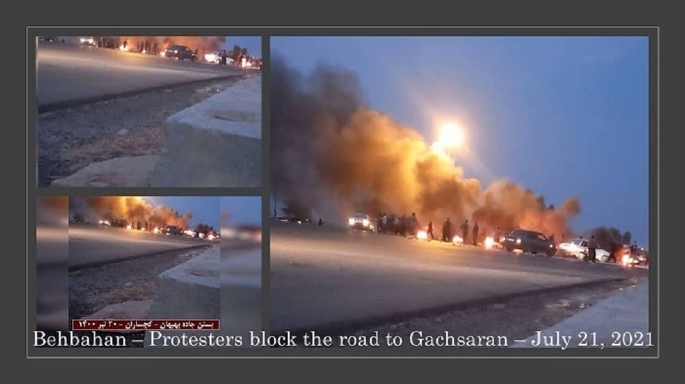 Behbahan – Defiant youths, block the highway to Gachsaran in solidarity with the Khuzestan uprising.