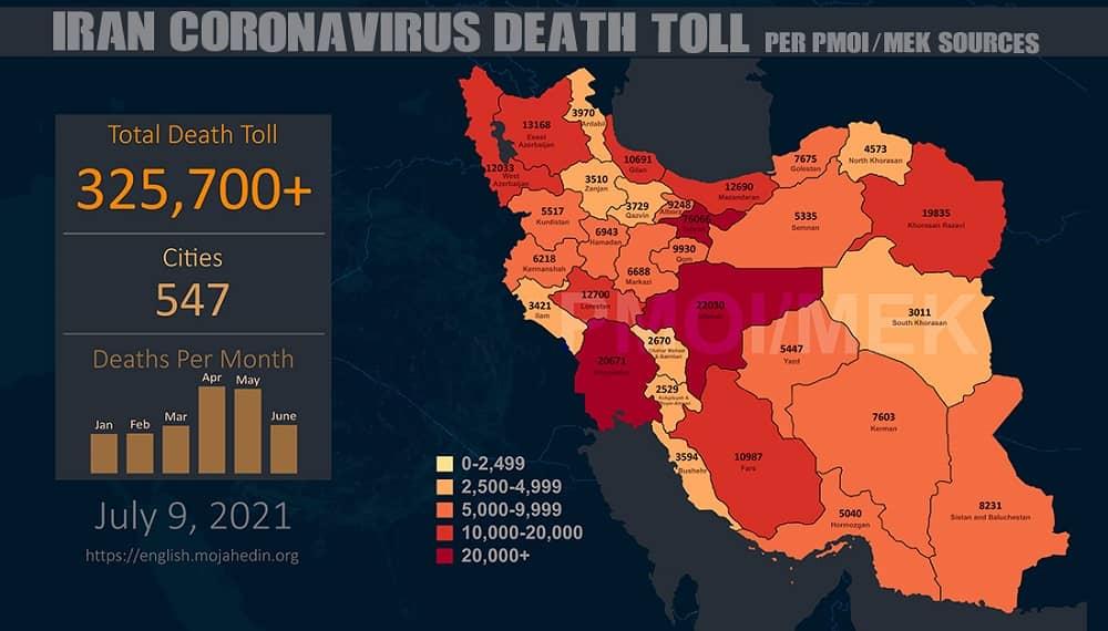 Infografis-PMOI-MEK melaporkan lebih dari 325.700 kematian akibat virus corona (COVID-19) di Iran (1)