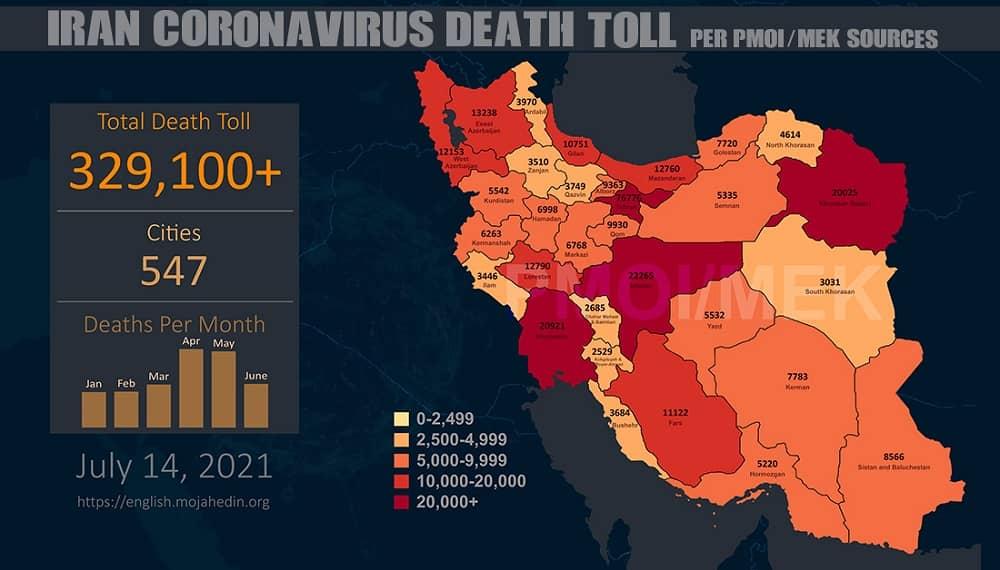 Infographic-PMOI-MEK reports over 329,100 coronavirus (COVID-19) deaths in Iran