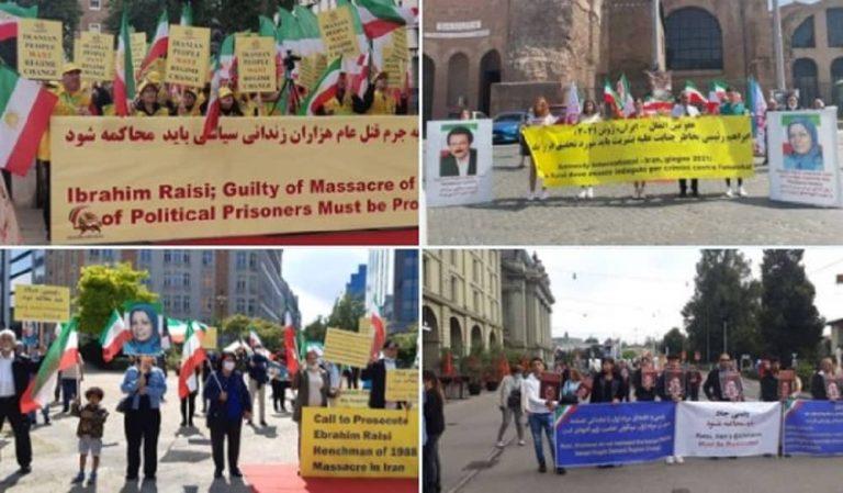 Iranian Expatriates Hold Rallies, Condemn Regime's President Ebrahim Raisi